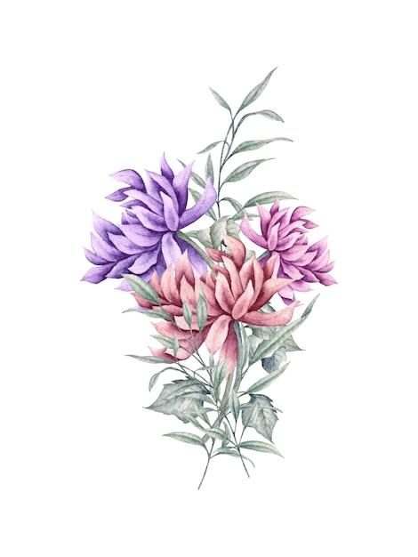 Ręcznie Rysowane Bukiet Kwiatów Dla Karty Z Pozdrowieniami Premium Wektorów