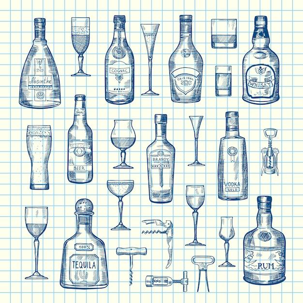 Ręcznie rysowane butelki napoju alkoholowego i szklanki zestaw na arkuszu komórki Premium Wektorów