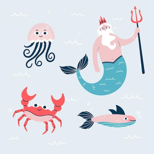 Ręcznie Rysowane Charakter życia Morskiego Darmowych Wektorów