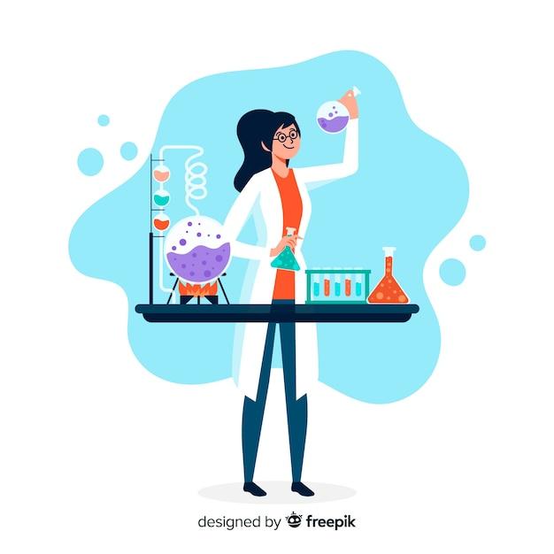 Ręcznie rysowane chemik robi tło eksperymentów Darmowych Wektorów