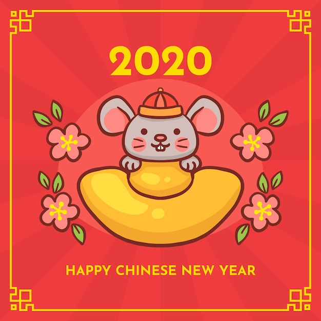 Ręcznie rysowane chiński nowy rok Darmowych Wektorów