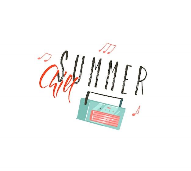 Ręcznie Rysowane Coon Czas Letni Ilustracje Sztuki Z Odtwarzaczem Muzyki I Cytatem Typografii Summer Chill Na Białym Tle Premium Wektorów