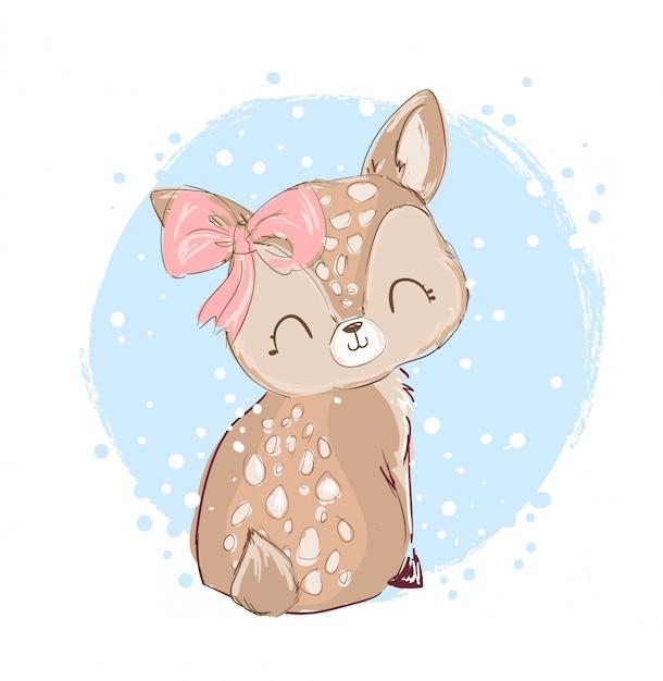 Ręcznie rysowane cute little deer. Premium Wektorów
