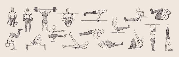 Ręcznie Rysowane ćwiczenia Kalisteniki Trening Zestaw ćwiczeń Premium Wektorów