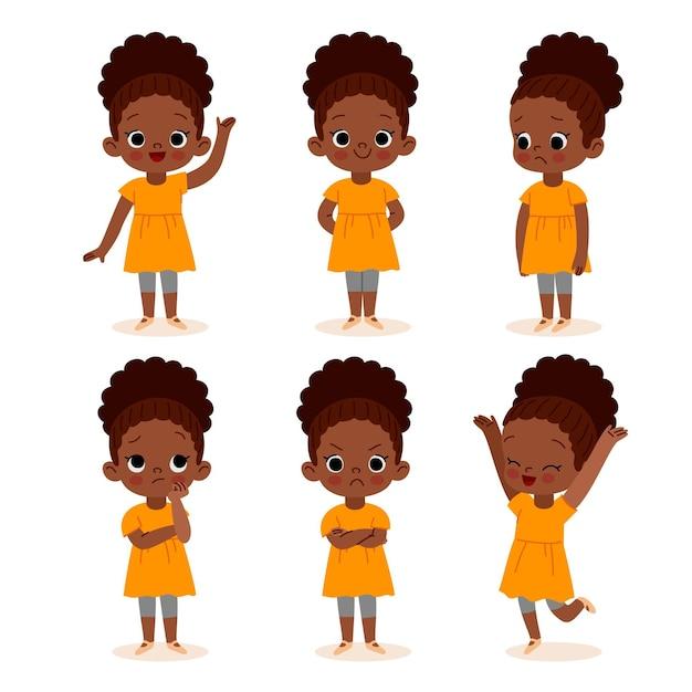 Ręcznie Rysowane Czarna Dziewczyna W Różnych Pozach Ilustracji Darmowych Wektorów