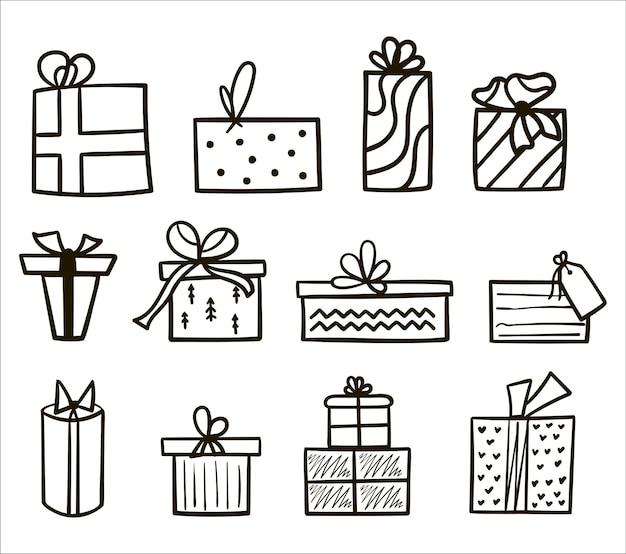 Ręcznie Rysowane Czarny Kontur Zestaw Pudełek Na Prezenty świąteczne I Noworoczne Na Białym Tle. Ilustracja Wektorowa Kolekcji Prezentów. Doodle Ikony Prezenty Z Kokardkami W Stylu Cartoon Premium Wektorów