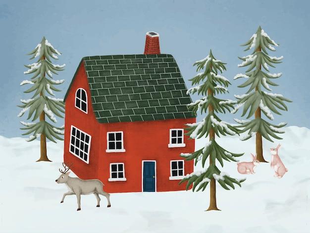 Ręcznie rysowane czerwony dom Darmowych Wektorów