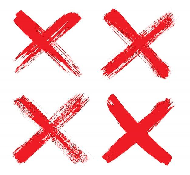 Ręcznie Rysowane Czerwony Znak X Premium Wektorów