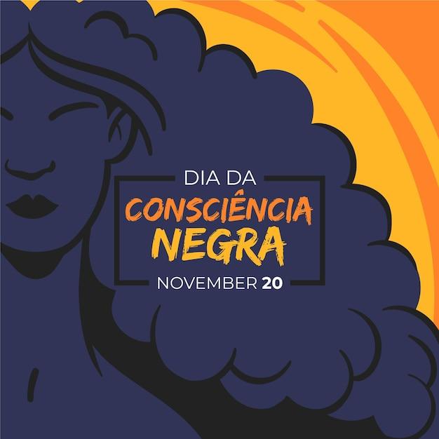Ręcznie Rysowane Dia Da Consciencia Negra Premium Wektorów