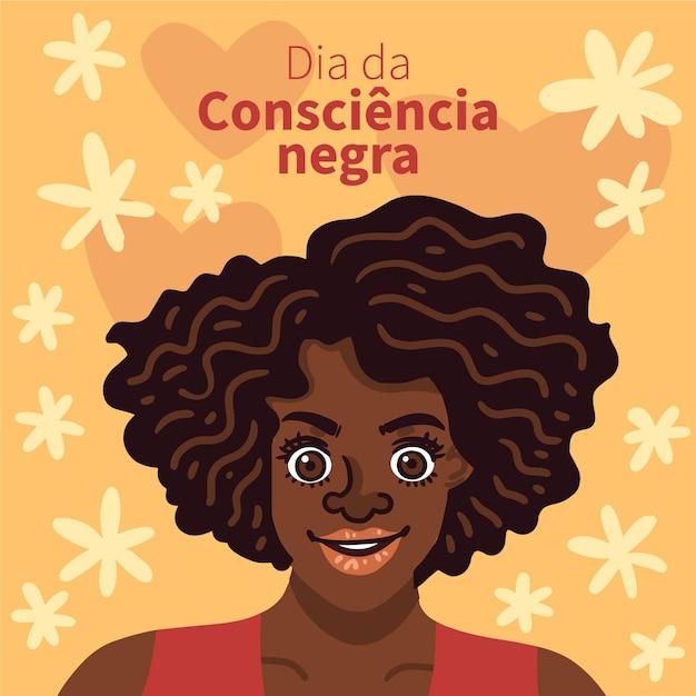 Ręcznie Rysowane Dia Da Consciencia Negra Darmowych Wektorów