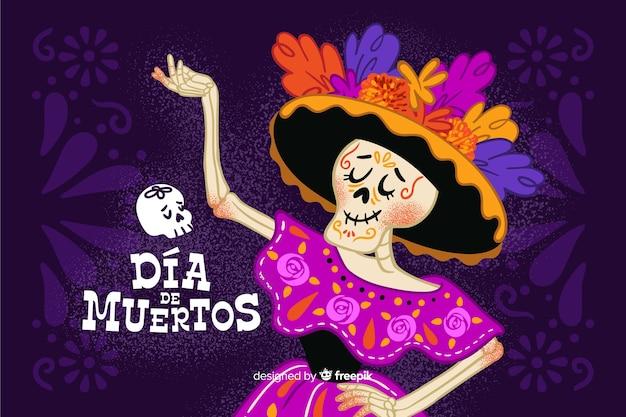 Ręcznie rysowane día de muertos z szkielet tańca pani tło Darmowych Wektorów