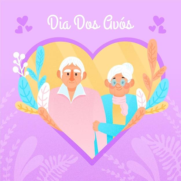 Ręcznie Rysowane Dia Dos Avós Z Dziadkami Darmowych Wektorów
