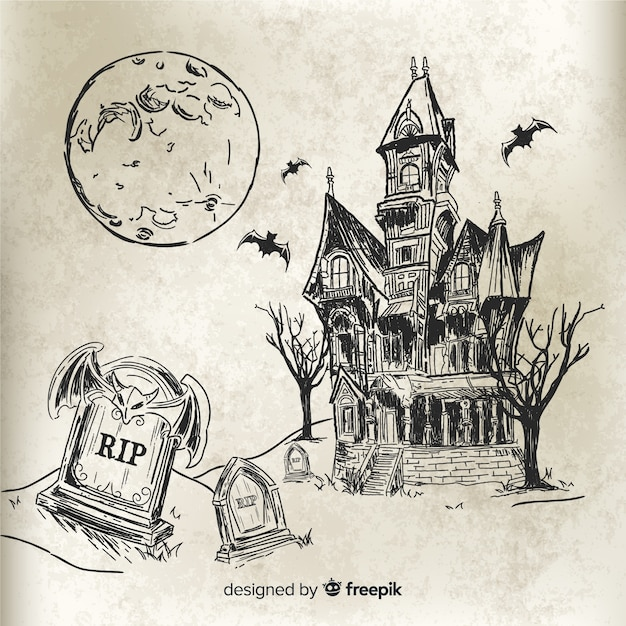 Ręcznie rysowane dom halloween Darmowych Wektorów