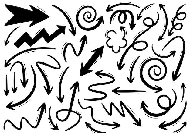 Ręcznie Rysowane Doodle Elementów Projektu. Ręcznie Rysowane Strzałki, Ramki, Obramowania, Ikony I Symbole. Elementy Infografiki Stylu Kreskówki. Premium Wektorów