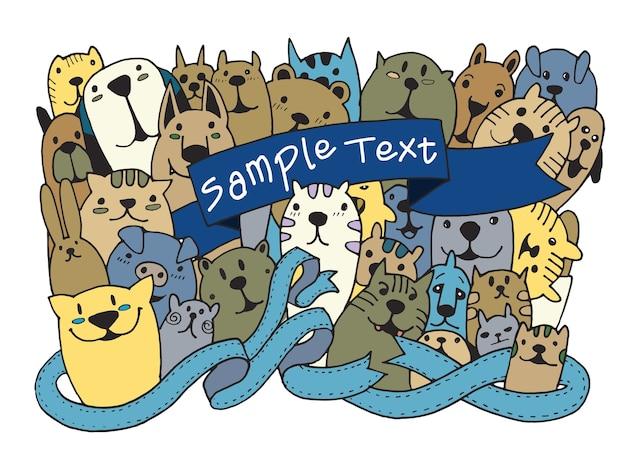 Ręcznie Rysowane Doodle Funny Pet Set Premium Wektorów