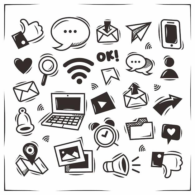 Ręcznie Rysowane Doodle Ikony Mediów Społecznościowych Premium Wektorów