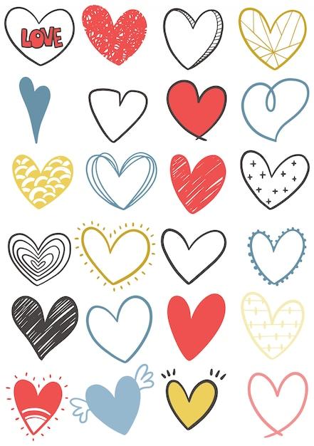 Ręcznie Rysowane Doodle Serce Kolekcja Premium Wektorów