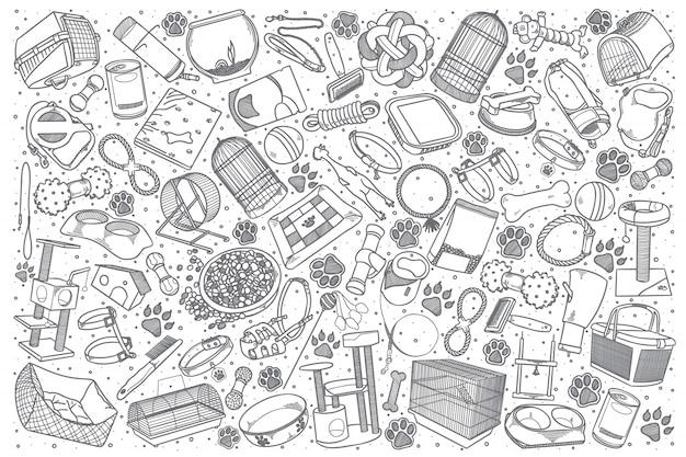 Ręcznie Rysowane Doodle Sklep Zoologiczny Zestaw Premium Wektorów