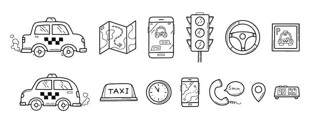 Ręcznie Rysowane Doodle Taxi Zestaw Ikon Premium Wektorów