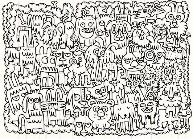 Ręcznie Rysowane Doodle Zestaw śmieszne Psy Premium Wektorów