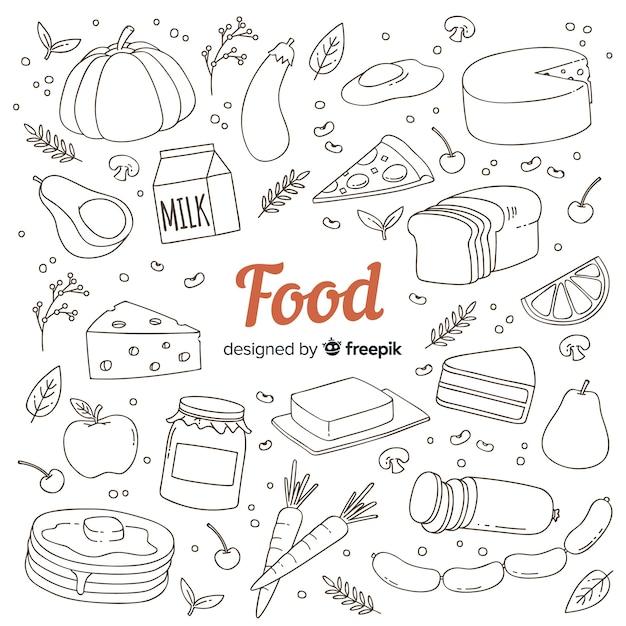 Ręcznie rysowane doodle żywności tło Darmowych Wektorów