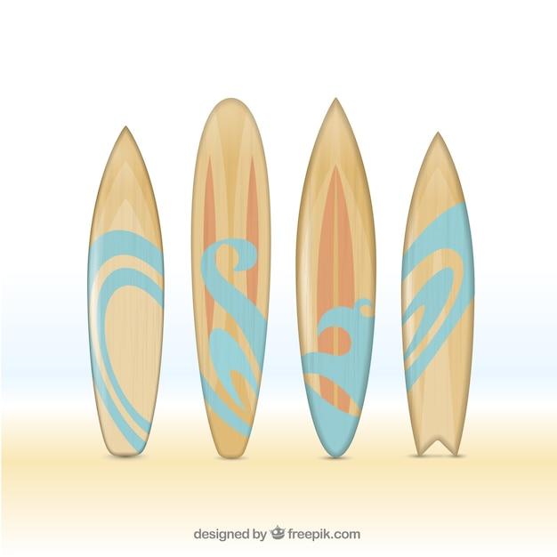 Ręcznie Rysowane Drewniane Deski Surfingowe Darmowych Wektorów