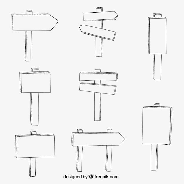 Ręcznie Rysowane Drewniane Znaki Darmowych Wektorów