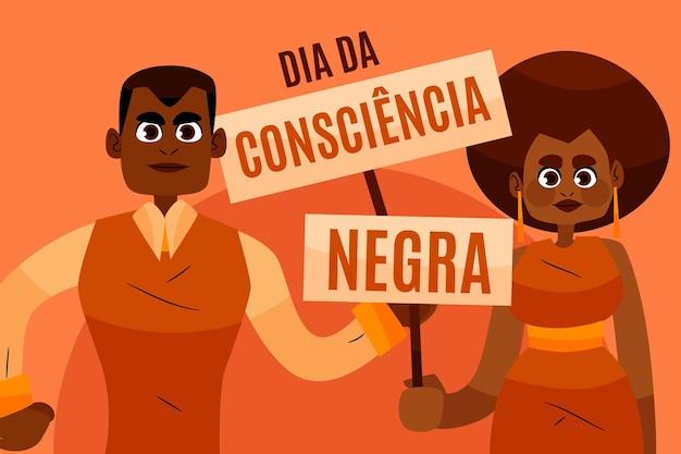 Ręcznie Rysowane Dzień Consciencia Negra Darmowych Wektorów
