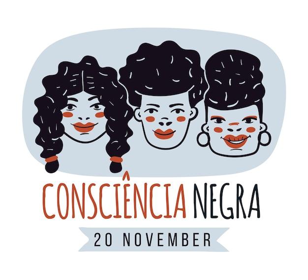 Ręcznie Rysowane Dzień Consciencia Negra Premium Wektorów