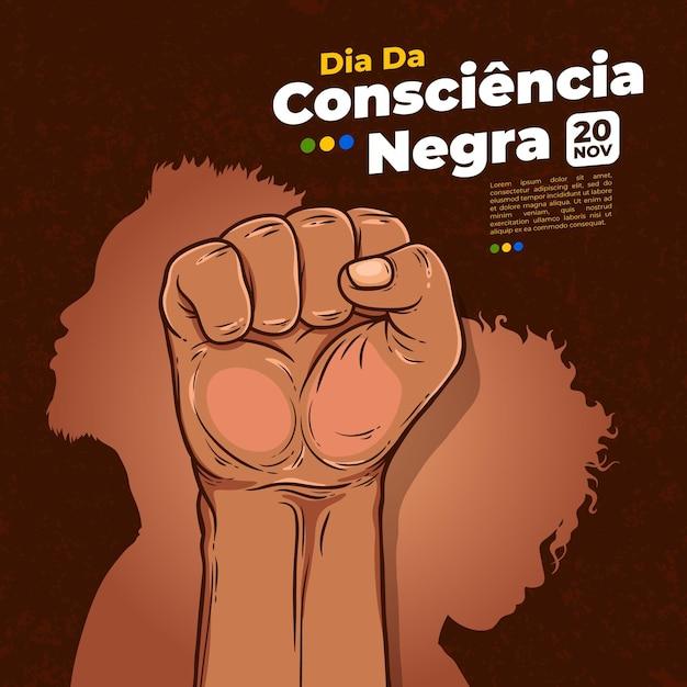 Ręcznie Rysowane Dzień Consiencia Negra Darmowych Wektorów