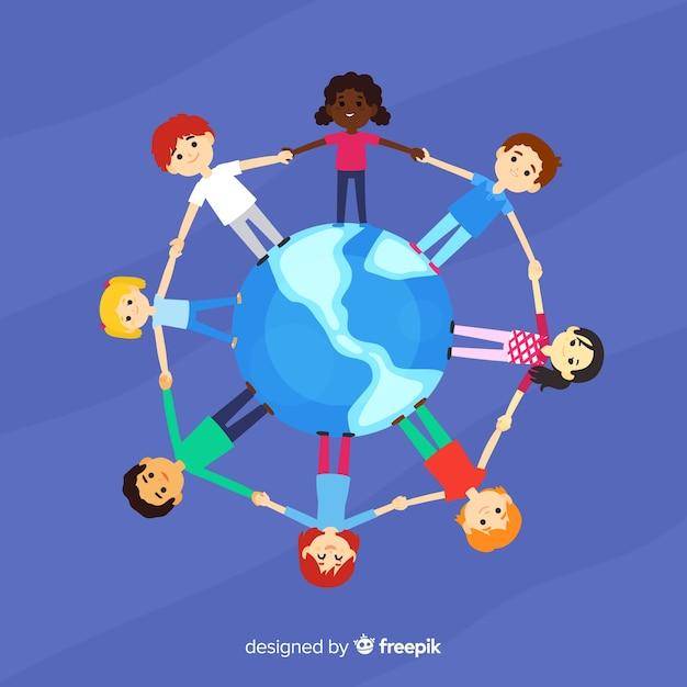 Ręcznie rysowane dzień pokoju z dziećmi Darmowych Wektorów