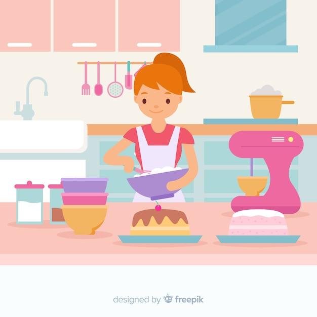 Ręcznie Rysowane Dziewczyna Gotowania Tło Darmowych Wektorów