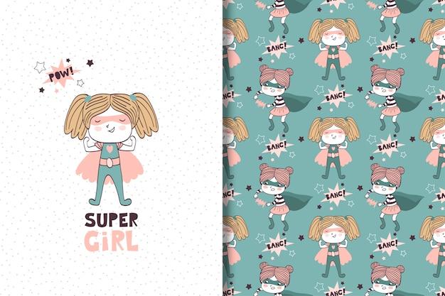 Ręcznie rysowane dziewczyna superbohatera. karta i wzór Premium Wektorów