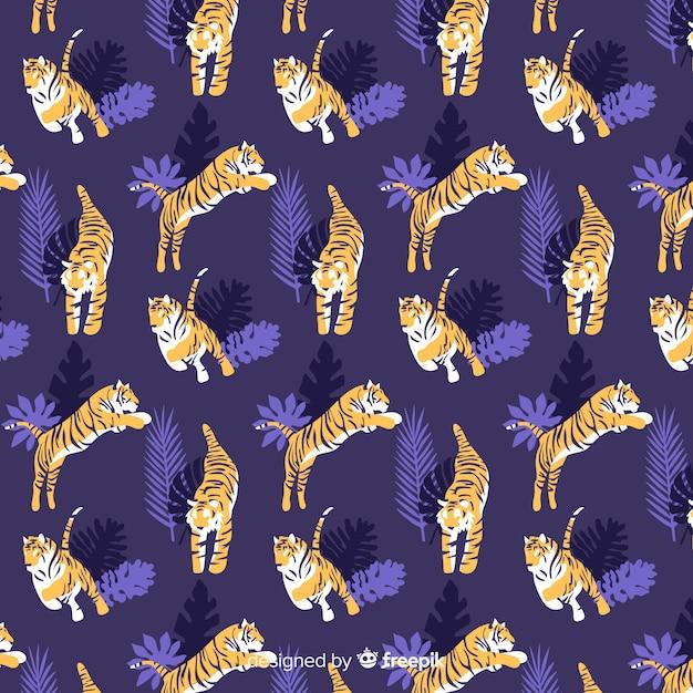 Ręcznie rysowane dziki tygrys wzór Darmowych Wektorów
