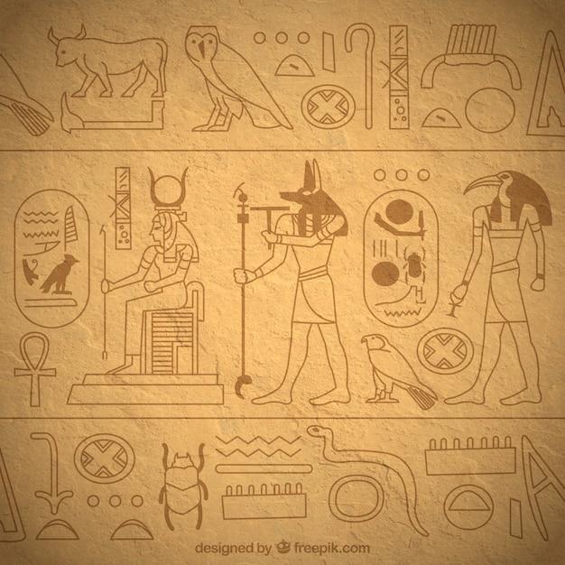 Ręcznie Rysowane Egipskie Hieroglify Tła Darmowych Wektorów