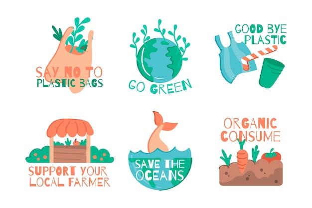 Ręcznie Rysowane Ekologia Kolekcja Odznak Darmowych Wektorów