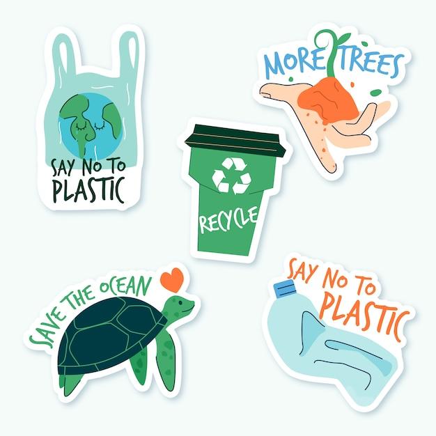 Ręcznie Rysowane Ekologia Koncepcja Odznaki Darmowych Wektorów