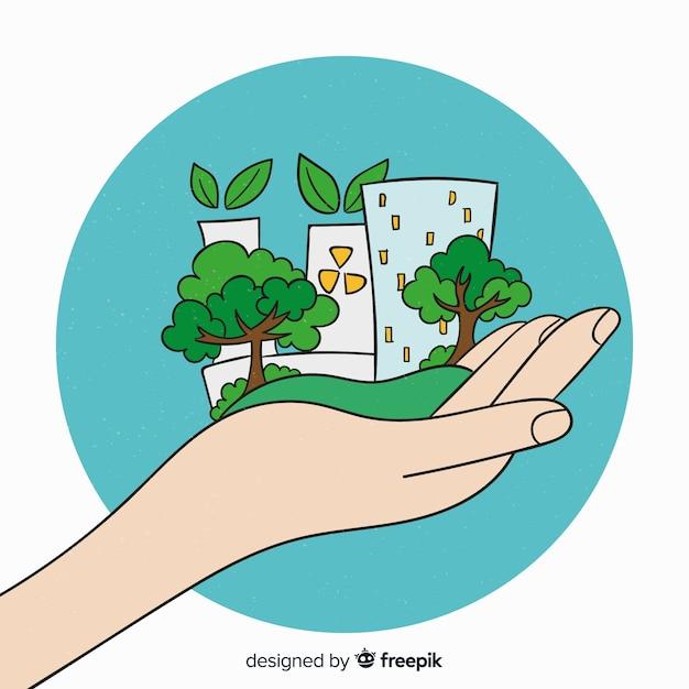 Ręcznie rysowane ekologia koncepcja tło Darmowych Wektorów
