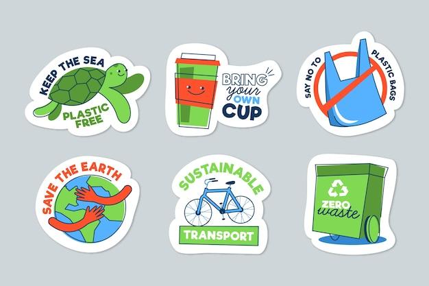 Ręcznie Rysowane Ekologia Odznaki Darmowych Wektorów
