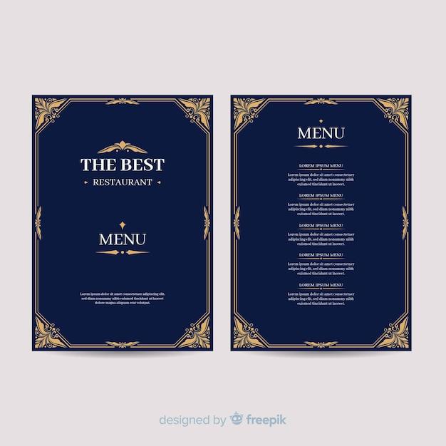 Ręcznie rysowane elegancki szablon menu Darmowych Wektorów
