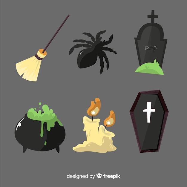 Ręcznie rysowane element kolekcji halloween w czarnych odcieniach Darmowych Wektorów