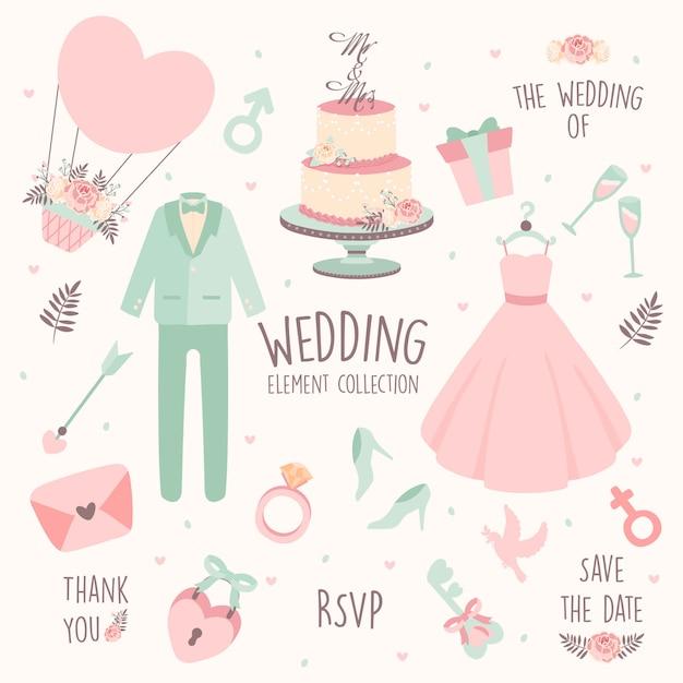 Ręcznie Rysowane Element ślub-strój ślubny Premium Wektorów