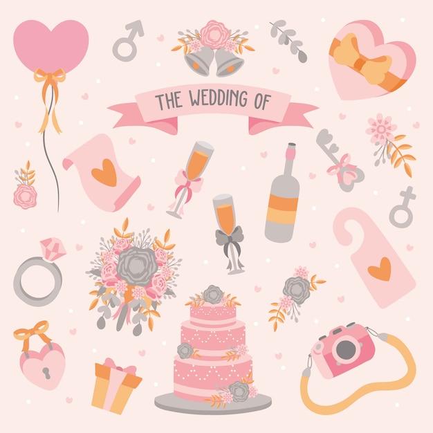 Ręcznie rysowane element ślubu Premium Wektorów