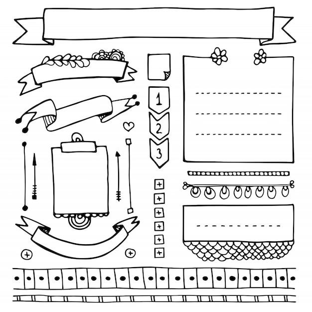 Ręcznie Rysowane Elementy Dziennika Punktorów Do Notatnika, Pamiętnika I Terminarza. Doodle Banery Na Białym Tle. Notatki, Listy, Ramki, Przekładki, Wstążki. Premium Wektorów