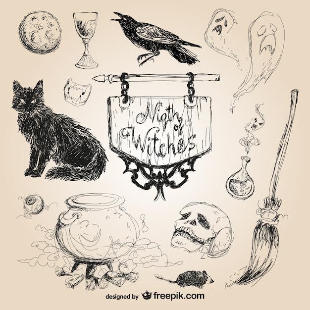 Ręcznie rysowane elementy halloween Darmowych Wektorów