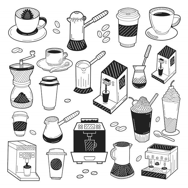 Ręcznie rysowane elementy kawy Premium Wektorów
