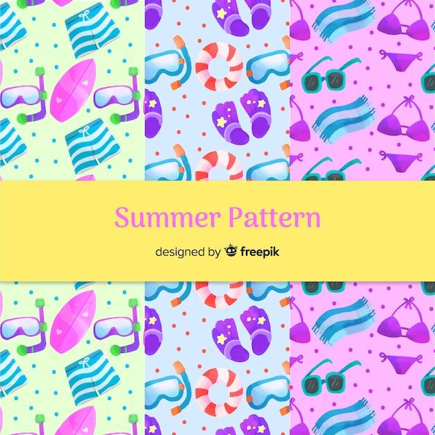 Ręcznie rysowane elementy kolekcji lato wzór Darmowych Wektorów