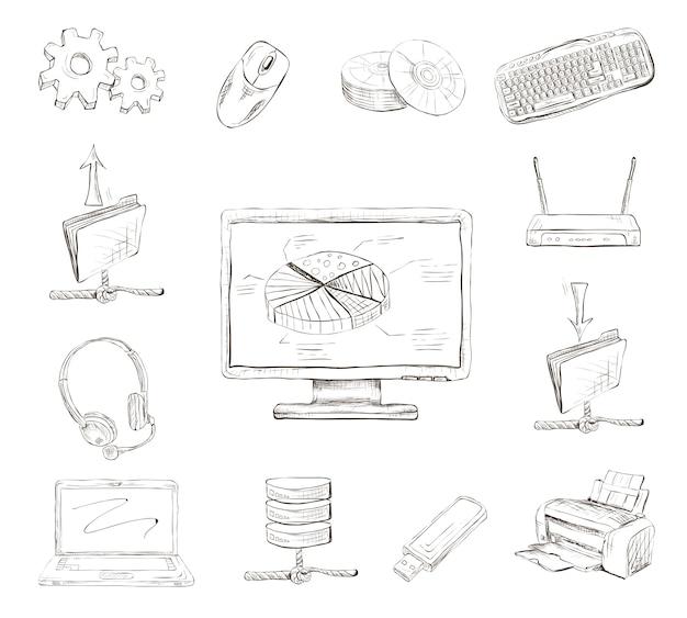 Ręcznie rysowane elementy komputerowe Darmowych Wektorów