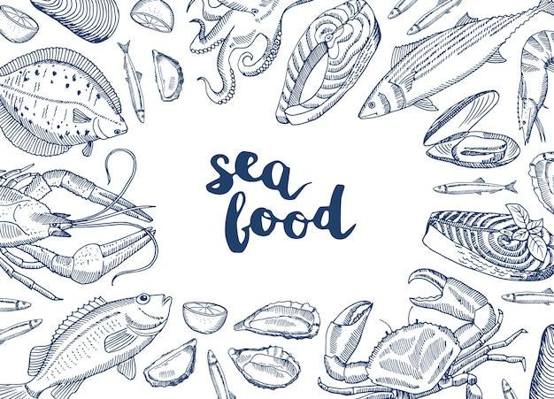 Ręcznie Rysowane Elementy Owoców Morza Zebrane Wokół Napisu Premium Wektorów