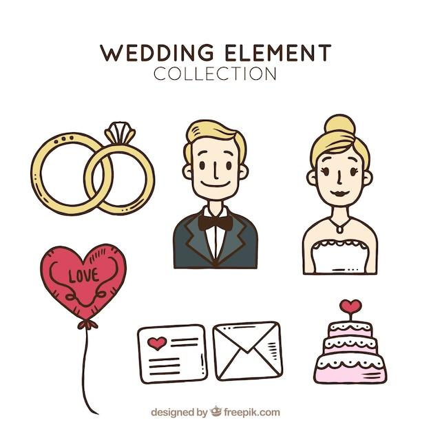 Ręcznie Rysowane Elementy ślubne Darmowych Wektorów